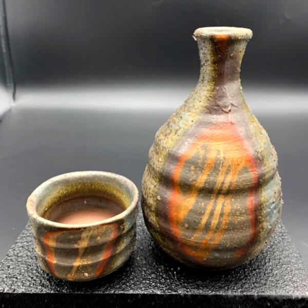 備前窯変酒呑セットt-001